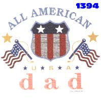 Click to order printed t-shirt 1394... All American Dad *U*S*A*