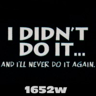 Click to order printed t-shirt 1652w... I Didn't Do It... And I'll Never Do it Again
