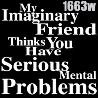 Click to order printed t-shirt 1663w... My Imaginary Friend thinks You have Serious Mental Problems