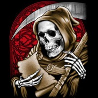 Click to order printed t-shirt 24383... Reaper with Scroll