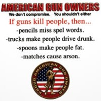 Click to order printed t-shirt 31257... American Gun Owners We don't Compromise, You shouldn't Either If Guns kill people, then... -pencils miss spel words..... Proud American Gun Owner