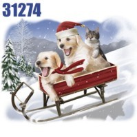 Click to order printed t-shirt 31275... The Need for Speed Pups and Cat in Sled