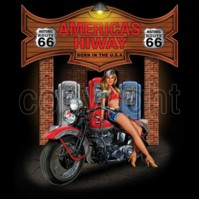 Click to order printed t-shirt 41388... Americas Hiway Born in the USA Historic Route66