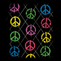 Argyle Peace Signs Black T-Shirt