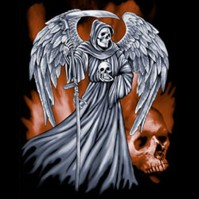 Winged Reaper Black T-Shirt Design